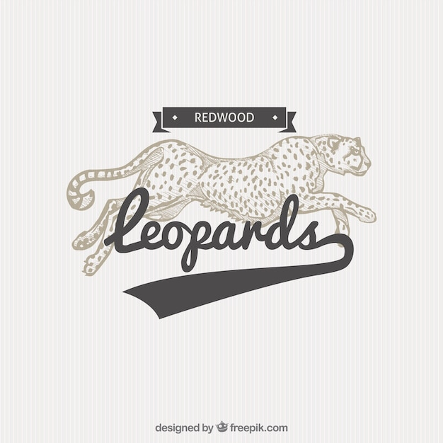 Badge leopard dans l'illustration de style Vecteur gratuit
