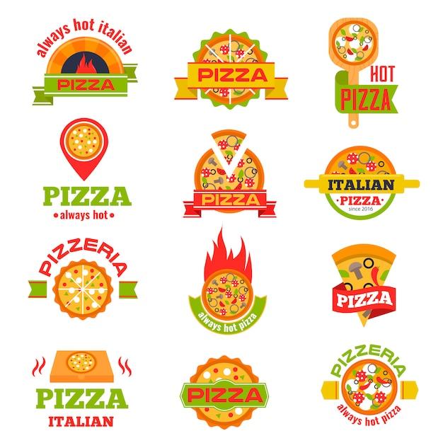 Badge de livraison pizza logo set illustration vectorielle. Vecteur Premium