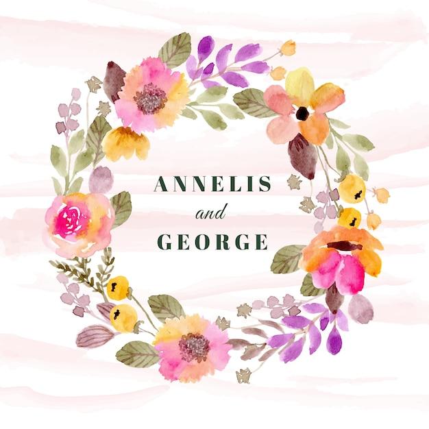 Badge de mariage avec aquarelle de guirlande florale colorée Vecteur Premium