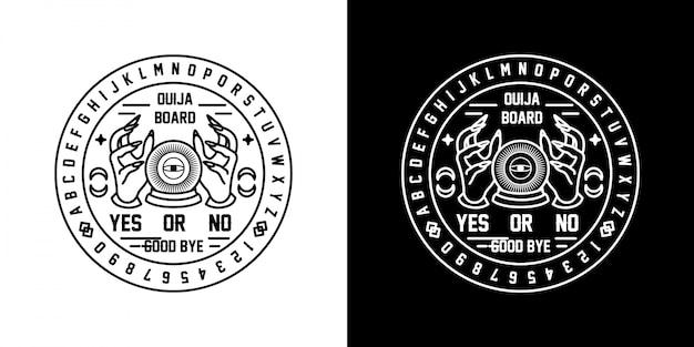 Badge Ouija Monoline Vecteur Premium
