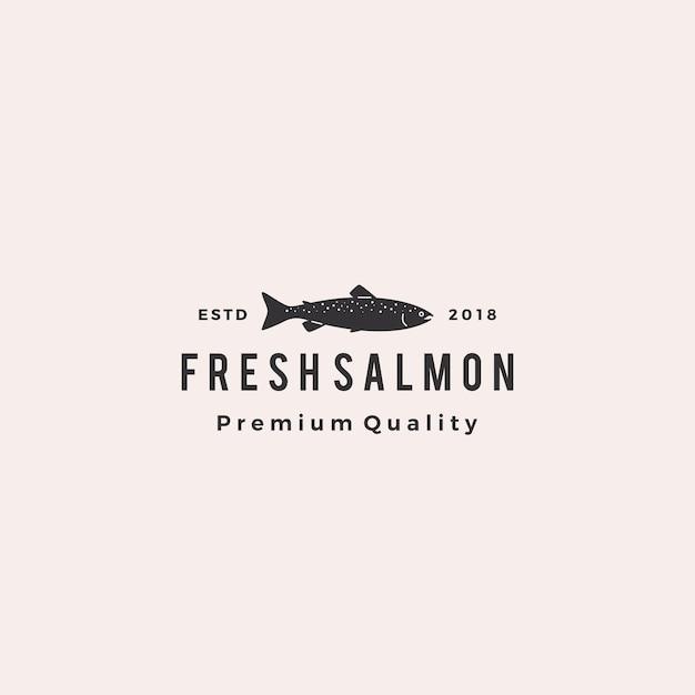 Badge de poisson saumon logo fruits de mer rétro hipster étiquette vintage Vecteur Premium
