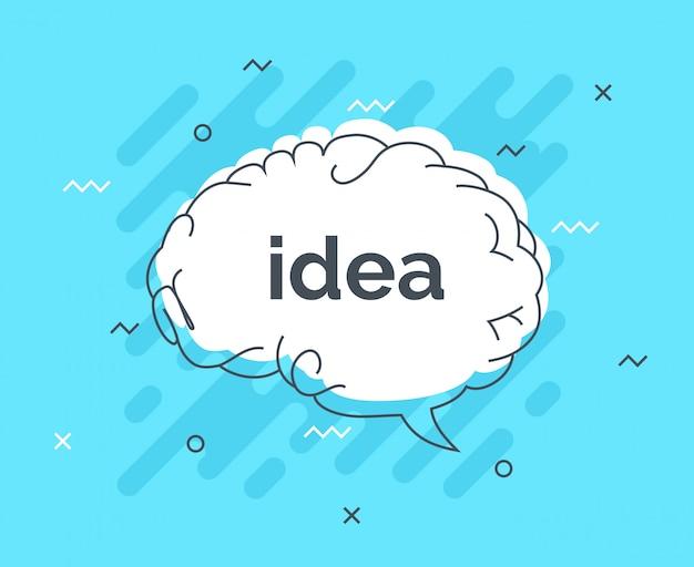 Badge quick tips avec cerveau idée bulle Vecteur Premium