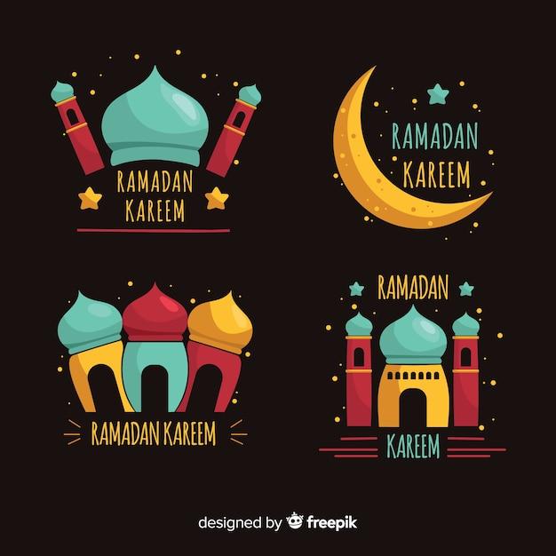 Badge de ramadan dessiné à la main collectio Vecteur gratuit