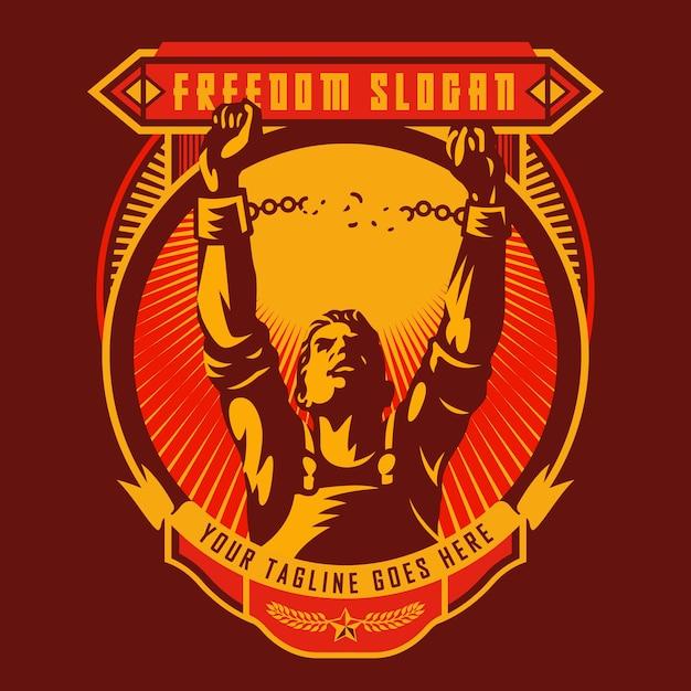 Badge de la révolution de la liberté Vecteur Premium