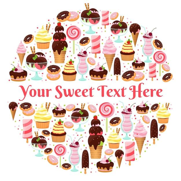 Badge Rond De Glaces, Bonbons, Beignets Et Gâteaux Avec Place Pour Votre Texte. Illustration Vectorielle Vecteur gratuit