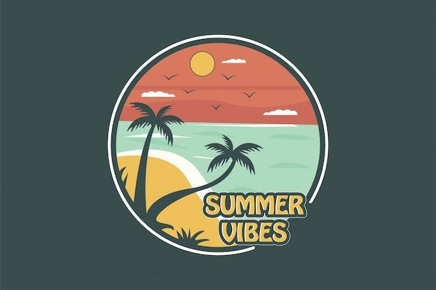 Badge summer vibes Vecteur Premium