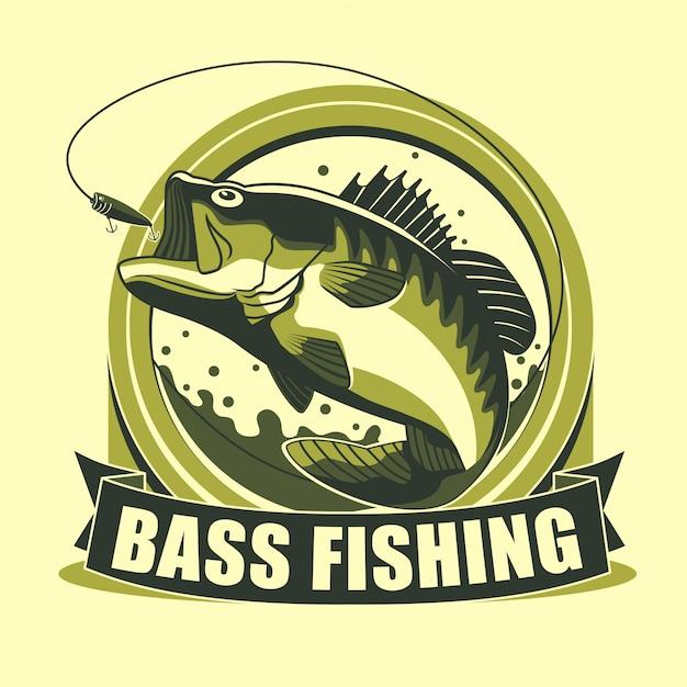 Badge de tournoi avec logo de pêche en basse Vecteur Premium