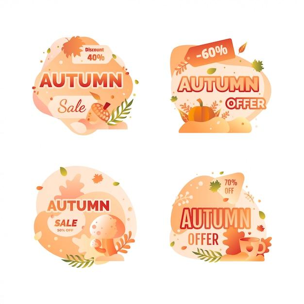 Badge de vente d'automne Vecteur Premium
