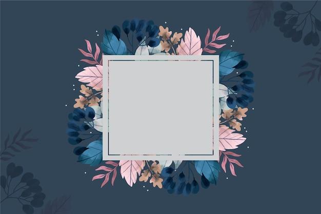 Badge vide sur fond de fleurs d'hiver Vecteur gratuit