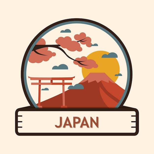 Badge de la ville du japon Vecteur Premium