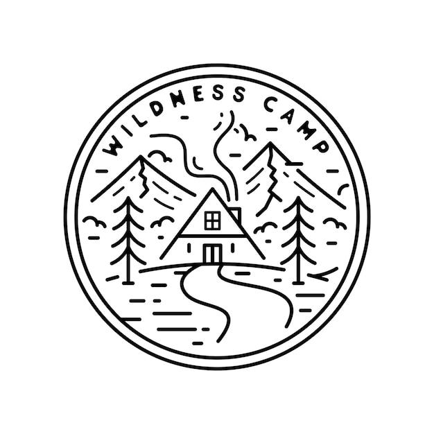 Badge Vintage Monoline Camp Wildness Vecteur Premium