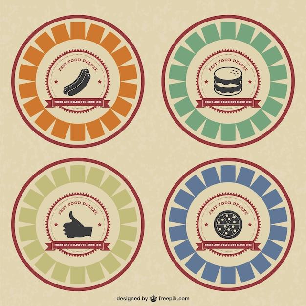 Badges Alimentaires De Style Rétro Vecteur gratuit