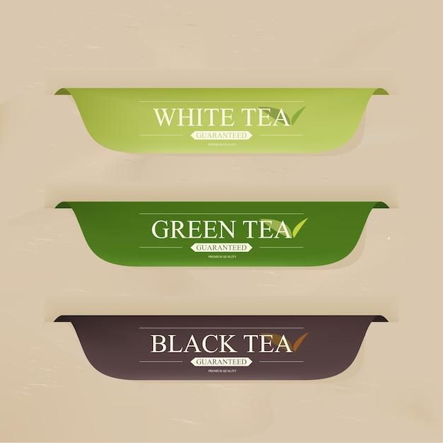Badges ou bannière avec un menu de boissons au thé. Vecteur Premium