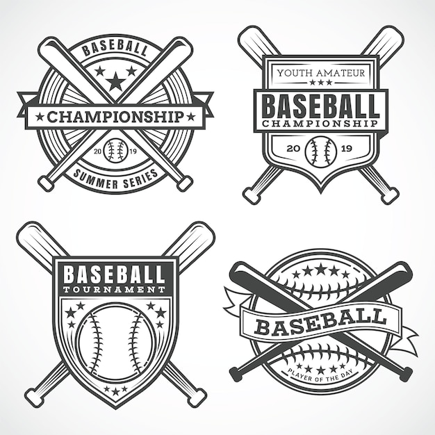 Badges De Baseball Vecteur Premium