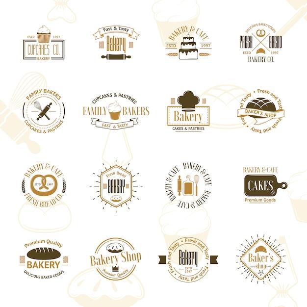 Badges de boulangerie vintage Vecteur Premium