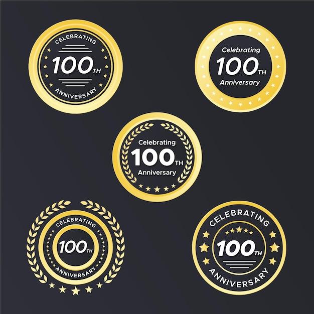 Badges Centenaires Vecteur gratuit