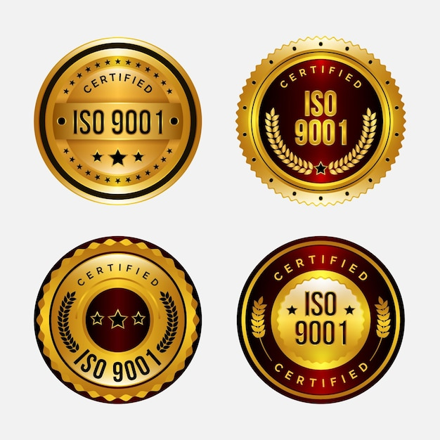 Badges De Certification Iso Vecteur Premium