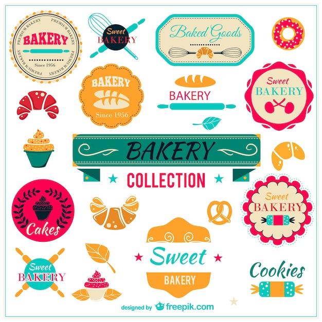 Badges de collecte de boulangerie Vecteur gratuit