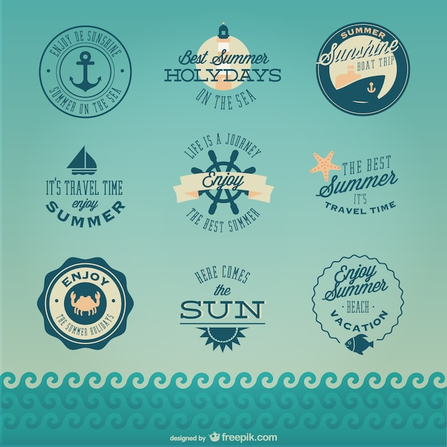 Badges de croisière rétro nautiques Vecteur gratuit