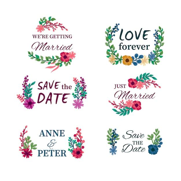 Badges de mariage floral Vecteur gratuit