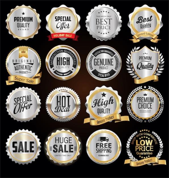 Badges et étiquettes en argent de première qualité Vecteur Premium