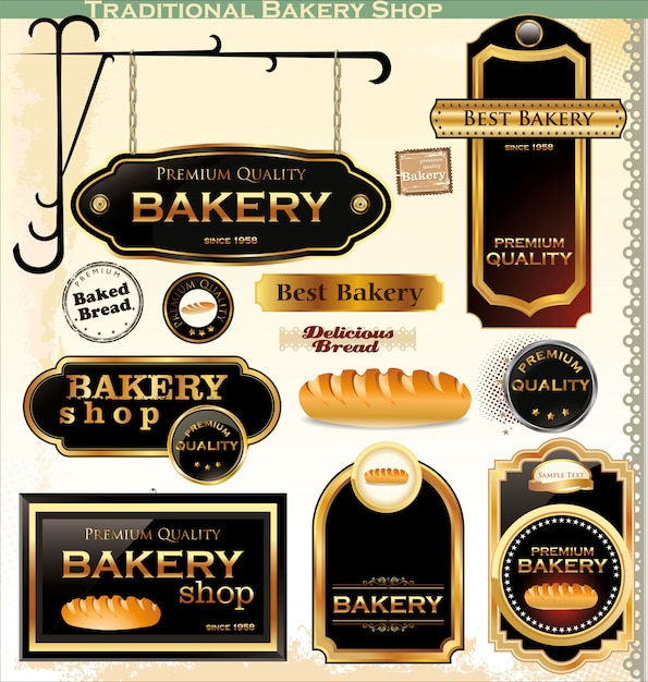 Badges et étiquettes de boulangerie rétro Vecteur Premium