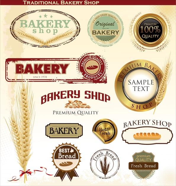 Badges et étiquettes de boulangerie Vecteur Premium