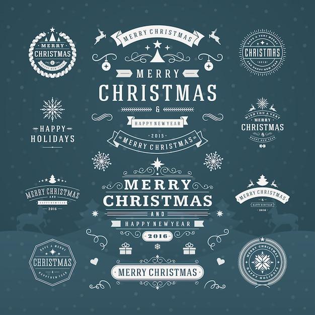 Badges Et étiquettes Ornées De Typographie De Noël Vecteur Premium