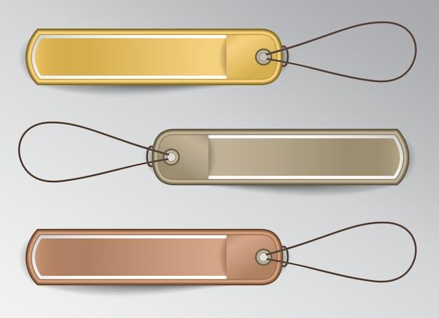 Badges horizontaux avec des cordes Vecteur Premium