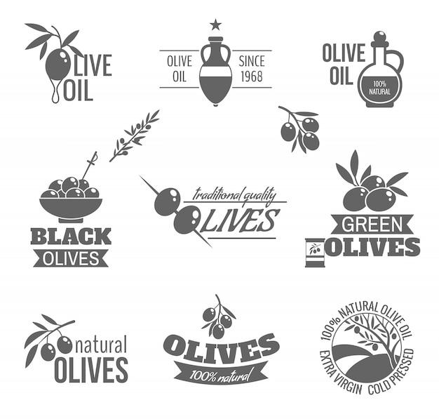 Badges d'huile d'olive dans un style vintage Vecteur gratuit
