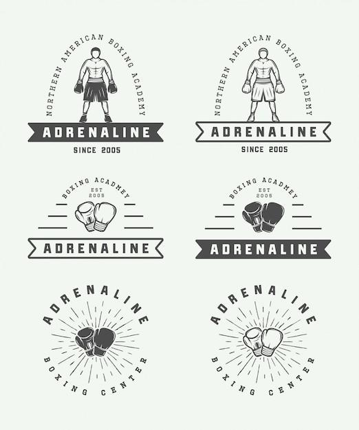 Badges De Logo De Boxe Vecteur Premium
