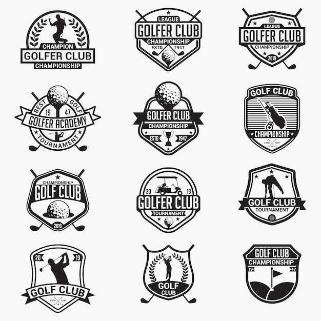 Badges et logos de club de golf Vecteur Premium
