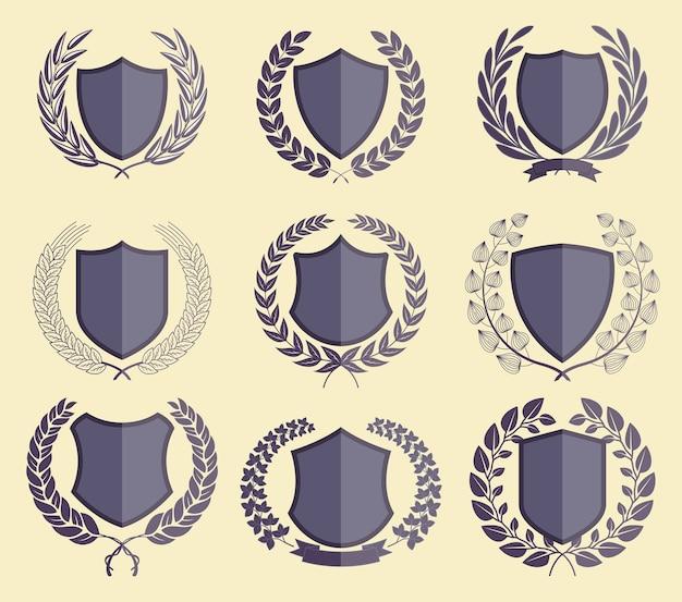 Badges De Luxe Laurel Wreath Collection Vecteur Premium