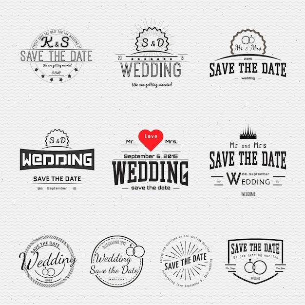 Badges de mariage cartes et étiquettes Vecteur Premium