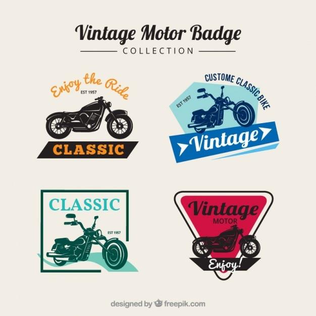 Badges De Motos Anciennes En Couleurs Vecteur gratuit