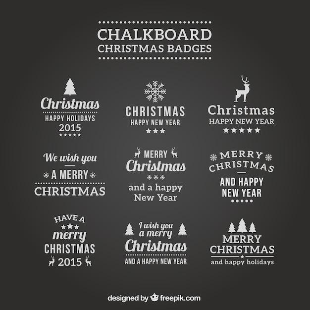 Badges De Noël Ardoise Vecteur gratuit