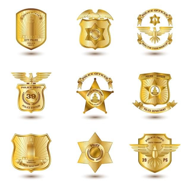 Badges de police or Vecteur gratuit