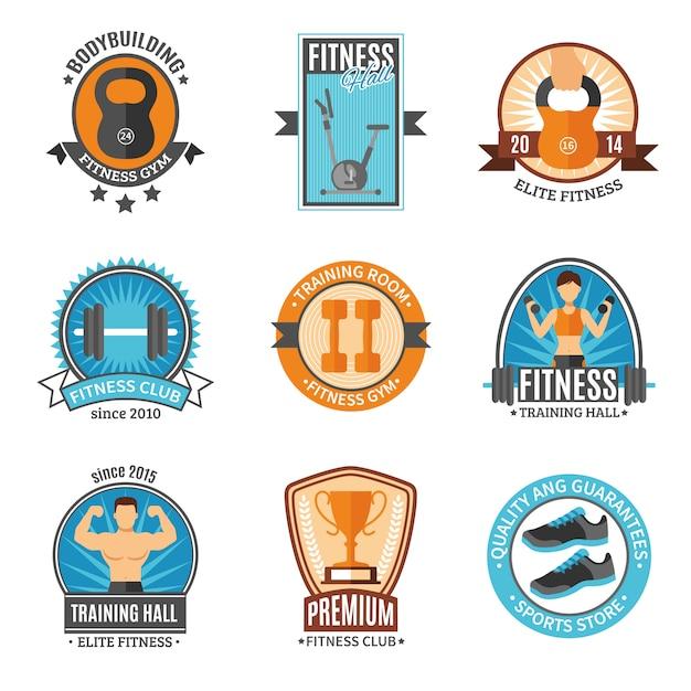 Badges de remise en forme et de gymnastique Vecteur gratuit