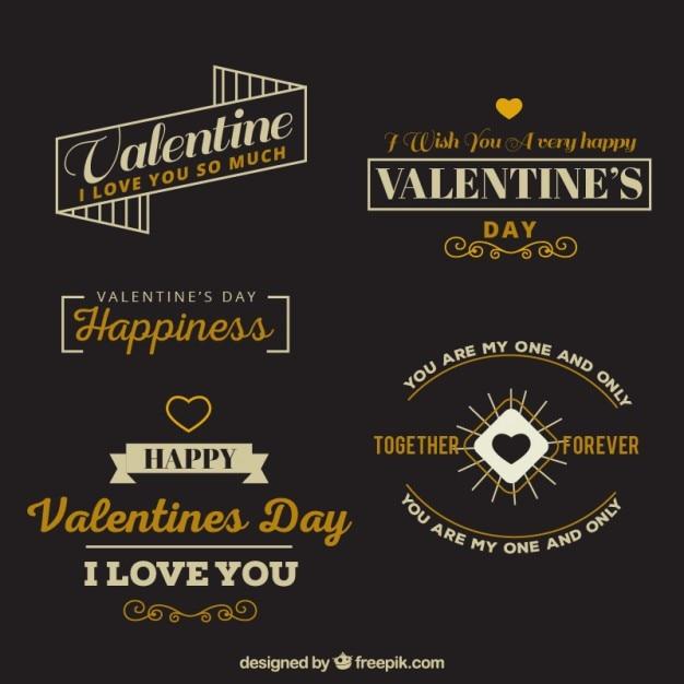 Badges Rétro De Saint-valentin Avec Une Belle Phrase Vecteur gratuit