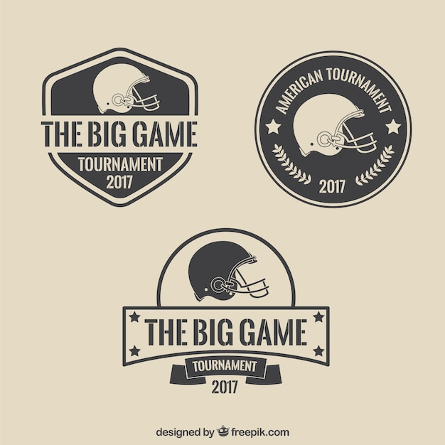 Badges simples vintage super bowl Vecteur gratuit