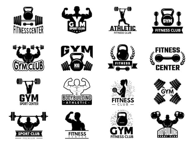 Badges De Sport. Ensemble De Logotypes De Gym Athlétique De Remise En Forme. Emblème De La Salle De Fitness, Illustration D'insigne D'entraînement De Musculation Vecteur Premium