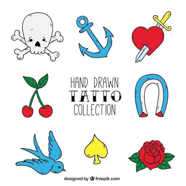 Badges de studio de tatouage, tiré par la main Vecteur gratuit