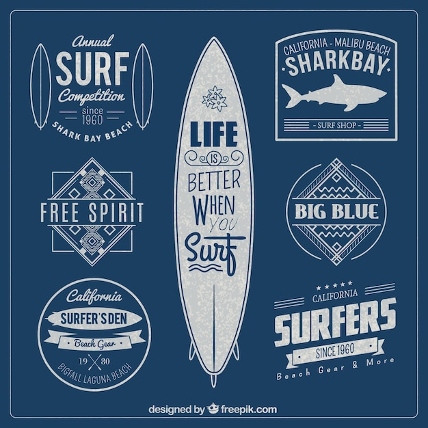 Badges de surf Vecteur gratuit