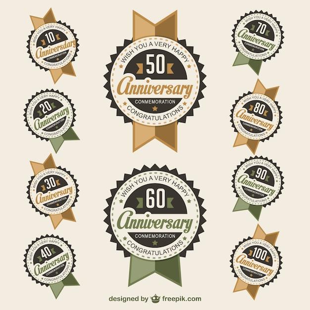 Badges De Vecteur D'anniversaire Vecteur gratuit