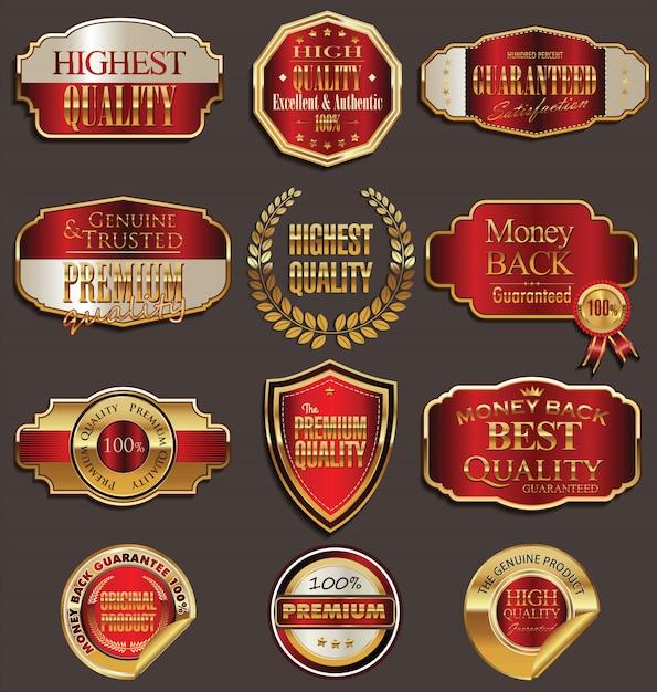 Badges De Vecteur De Jeu De Sceau D'or Et Rouge Vecteur Premium