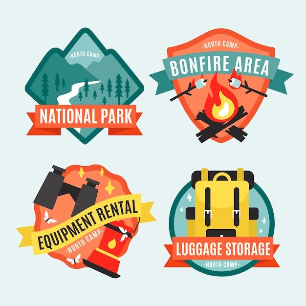 Badges Vintage Camping & Aventures Vecteur gratuit
