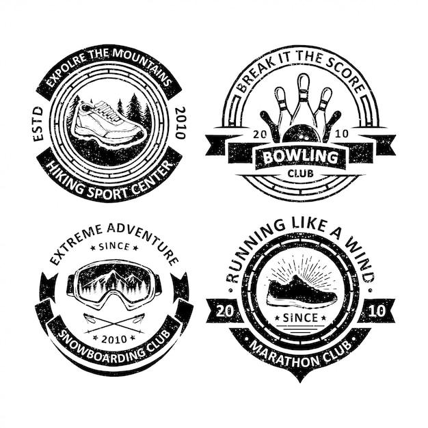 Badges vintage de sport en plein air Vecteur Premium