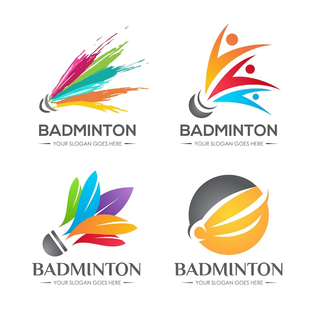 Badminton shuttlecock logo set Vecteur Premium