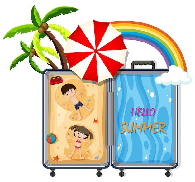 Un bagage avec un voyage à la plage Vecteur gratuit