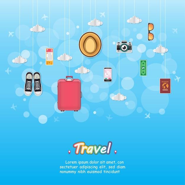 Bagage voyageur et accessoires voyage Vecteur Premium